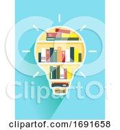 Light Bulb Book Shelf Illustration