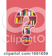 Poster, Art Print Of Question Mark Book Shelf Illustration