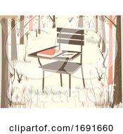 School Desk Chair Woodland Illustration