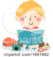 Kid Boy Oceanography Book Read Illustration