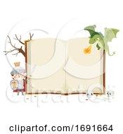 Kid Boy Knight Dragon Open Book Illustration