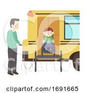 Poster, Art Print Of Kid Boy Wheelchair Bus Lift Illustration