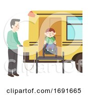 Kid Boy Wheelchair Bus Lift Illustration