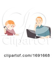 Poster, Art Print Of Kid Boy Call Dad Phone Work Illustration