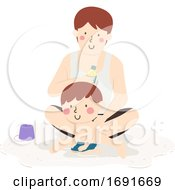 Kid Boy Dad Apply Sunscreen Illustration