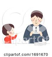 Kid Boy Dad Man Flashcards Illustration