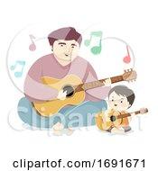 Kid Boy Dad Man Guitar Sing Illustration