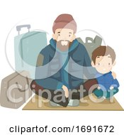 Kid Boy Dad Man Homeless Sitting Illustration