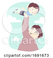 Kid Boy Dad Man Lift Fly Illustration