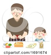 Kid Boy Dad Man Make Lunch Illustration