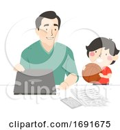 Kid Boy Dad Basketball Play Family Illustration