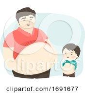 Kid Boy Man Dad Show Big Tummy Illustration