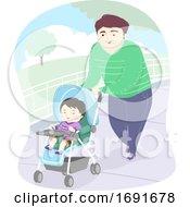Kid Boy Dad Man Stroller Park Illustration