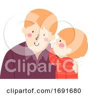 Kid Boy Man Dad Whisper Illustration