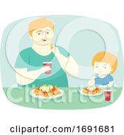 Poster, Art Print Of Kid Man Father And Son Eat Nachos Illustration