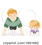 Kid Boy Father Push Up Illustration