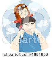 Kid Boy Fly Dad Man Carry Back Illustration