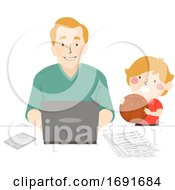 Kid Boy Invite Father Play Basketball Illustration