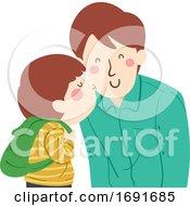 Kid Boy Kiss Dad Man Cheek Illustration