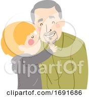 Poster, Art Print Of Kid Boy Kiss Grandpa Cheek Senior Man Illustration