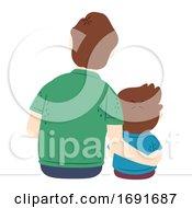 Kid Boy Man Dad Arm Across Shoulder Back