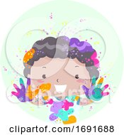 Kid Boy Holi Powder Illustration