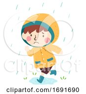 Kid Boy Run Rain Coat Raining Illustration
