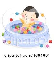 Poster, Art Print Of Kid Boy Baby Ball Pit Pool Illustration