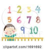 Kid Boy Baby Crib Numbers Illustration