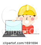Poster, Art Print Of Kid Boy Check Safety Online Illustration
