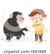 Poster, Art Print Of Kid Boy Chimpanzee Hand Greet Illustration
