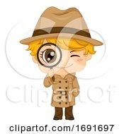 Kid Boy Detective Illustration