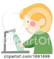 Poster, Art Print Of Kid Boy Fill Water Bottle Illustration