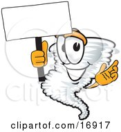 Clipart Picture Of A Tornado Mascot Cartoon Character Waving A Blank White Sign