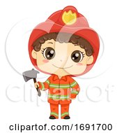 Kid Boy Fireman Ax Illustration