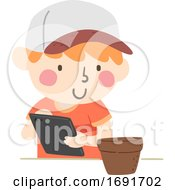 Kid Boy Plant Mobile Illustration