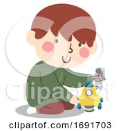 Poster, Art Print Of Kid Boy Play Space Toy Illustration