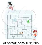 Poster, Art Print Of Kid Boy Scavenger Hunt Snow Maze Illustration