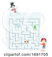 Kid Boy Scavenger Hunt Snow Maze Illustration