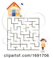 Poster, Art Print Of Kid Boy School Maze Puzzle Illustration