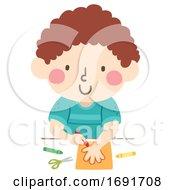 Poster, Art Print Of Kid Boy Trace Hands Illustration