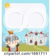 Poster, Art Print Of Kid Boy Knight Castle Speech Bubble Illustration