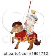 Poster, Art Print Of Kid Boy Knight Horse Jousting Illustration
