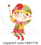 Poster, Art Print Of Kid Boy Medieval Jester Illustration