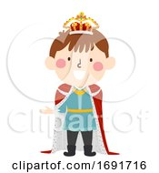 Kid Boy Medieval King Illustration