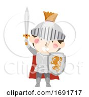 Poster, Art Print Of Kid Boy Medieval Knight Illustration