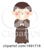 Kid Boy Medieval Monk Illustration