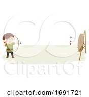 Kid Boy Page Wooden Bow Arrow Illustration by BNP Design Studio