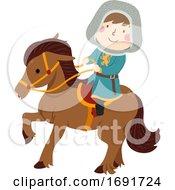 Kid Boy Squire Ride Horse Illustration