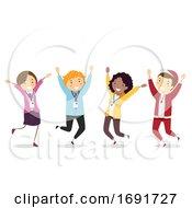 Stickman Teachers Jump Illustration